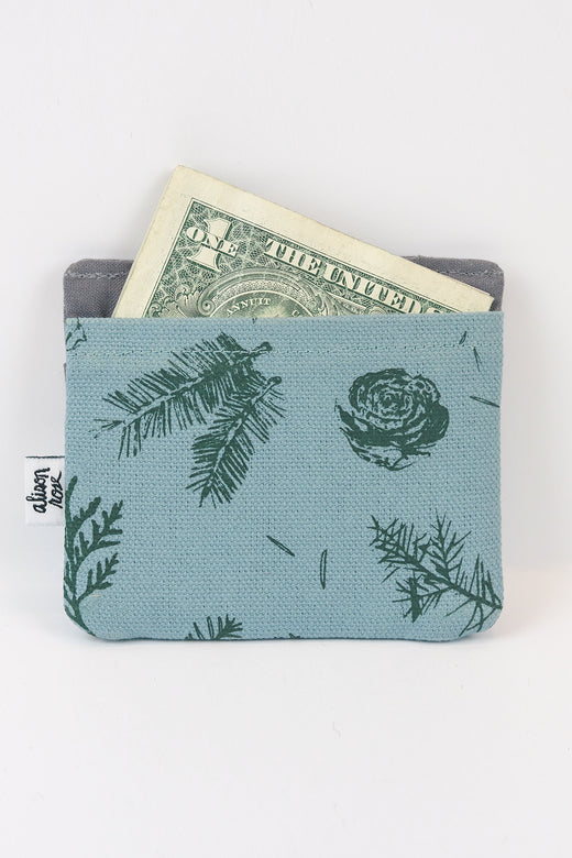 Blue/Gray Pine Slim Fabric Wallet