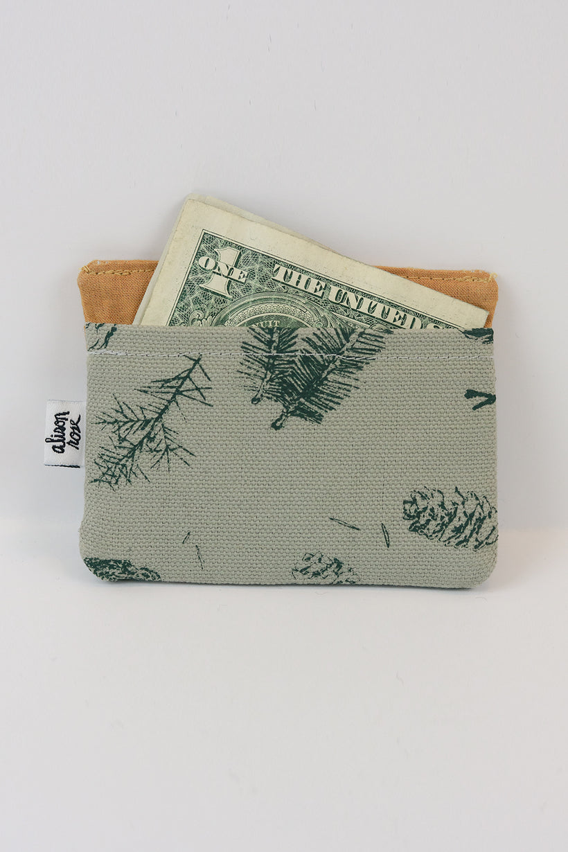 Grey/mustard Pine Slim Fabric Wallet