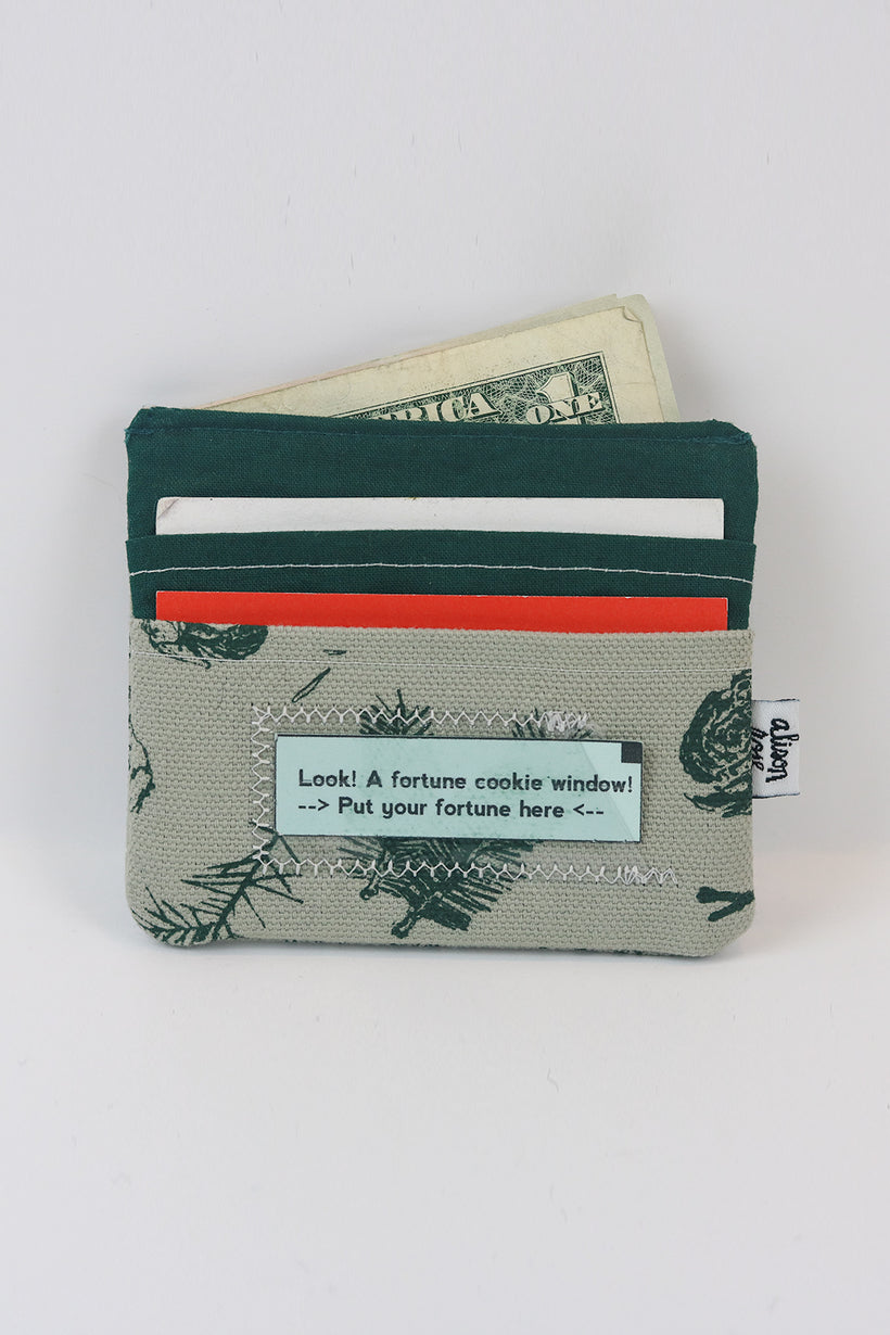 Grey/Green Pine Slim Fabric Wallet