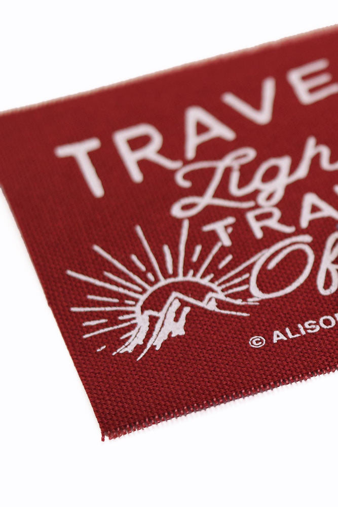 Travel Light, Travel Often Maroon Screen Printed Patch