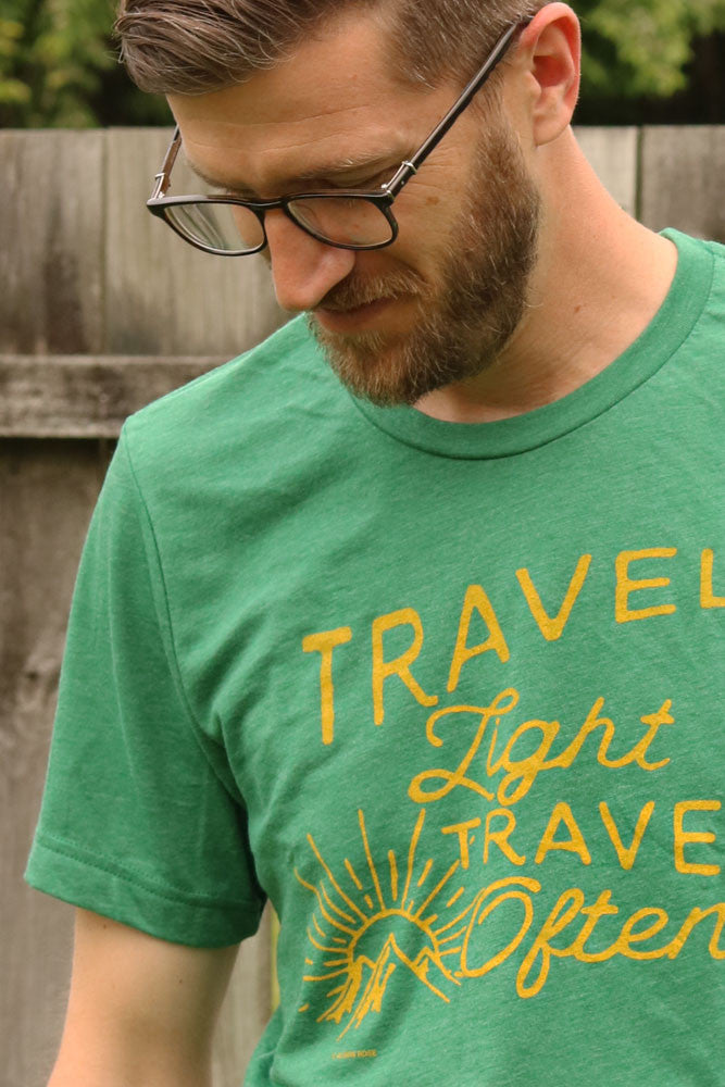 Travel Light, Travel Often T-shirt- Detail View