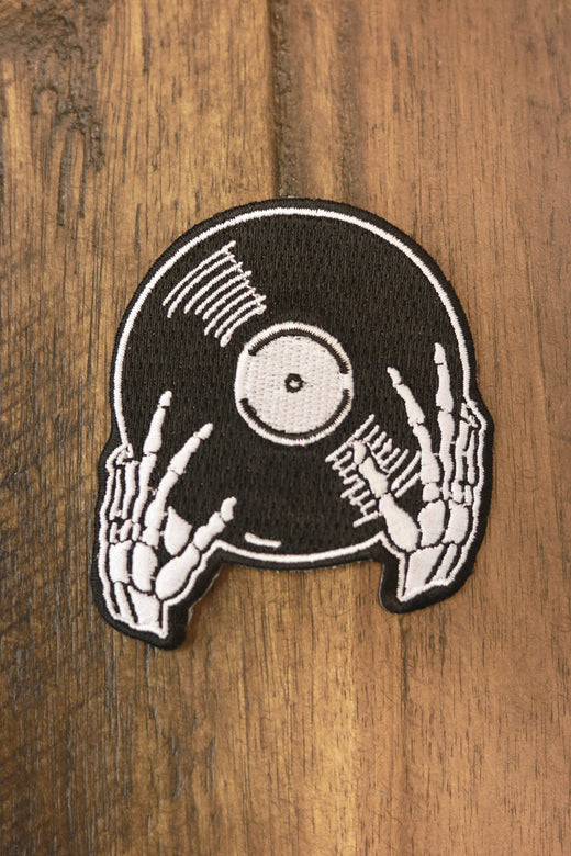 Vinyl is not Dead Black Embroidered Patch