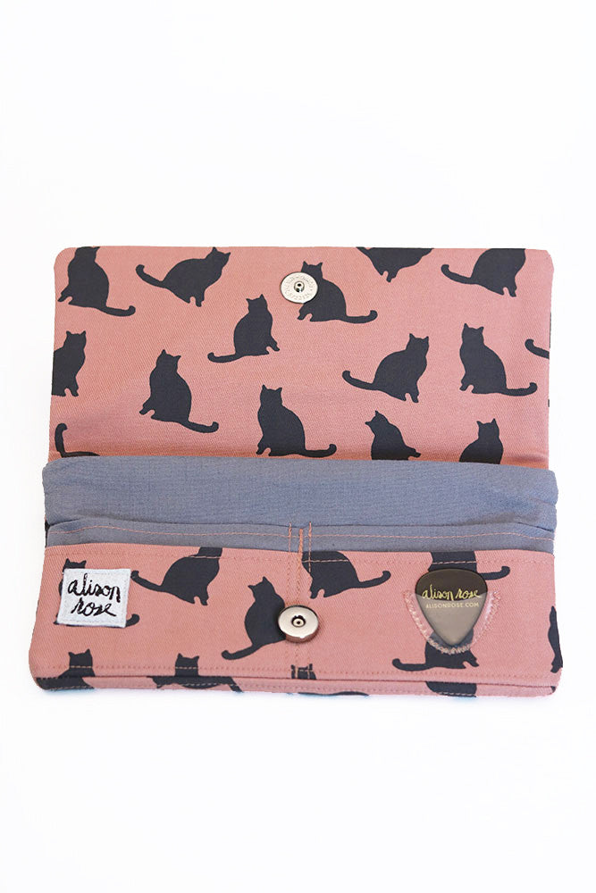 Pink Kitties Zipper Fabric Wallet