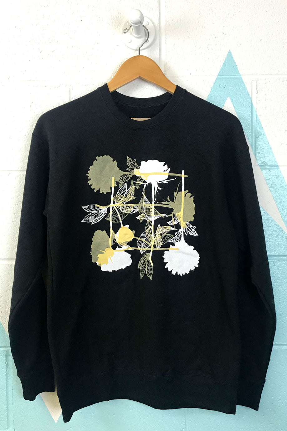 Black Flowers Crewneck Sweatshirt