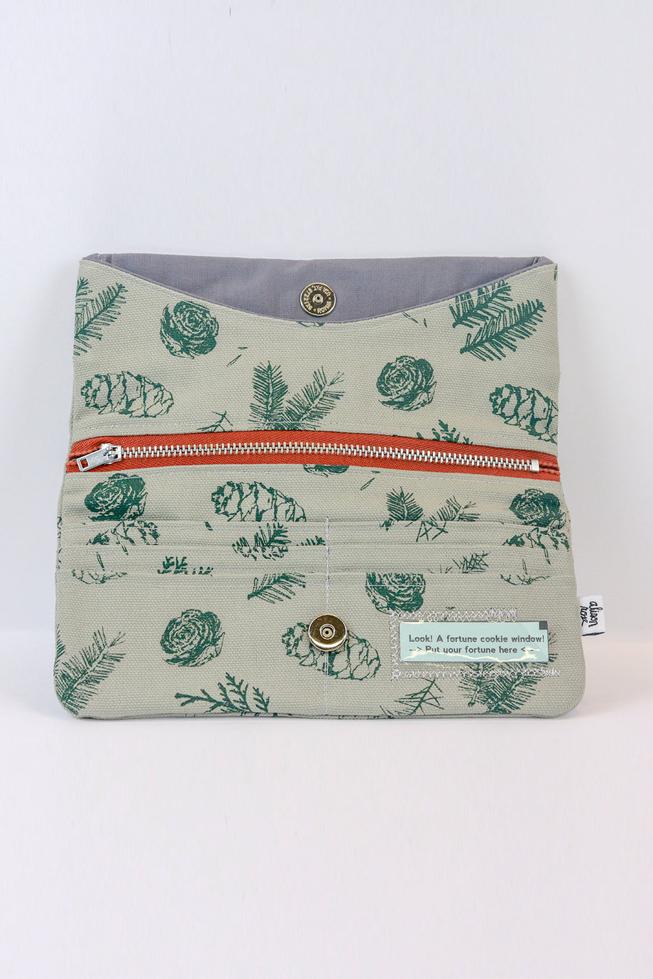Grey Pine Clutch Zipper Wallet