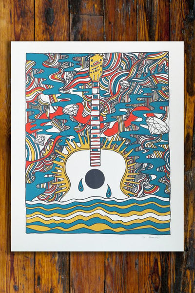 Psychedelic Guitar / Screen Printed Art Print