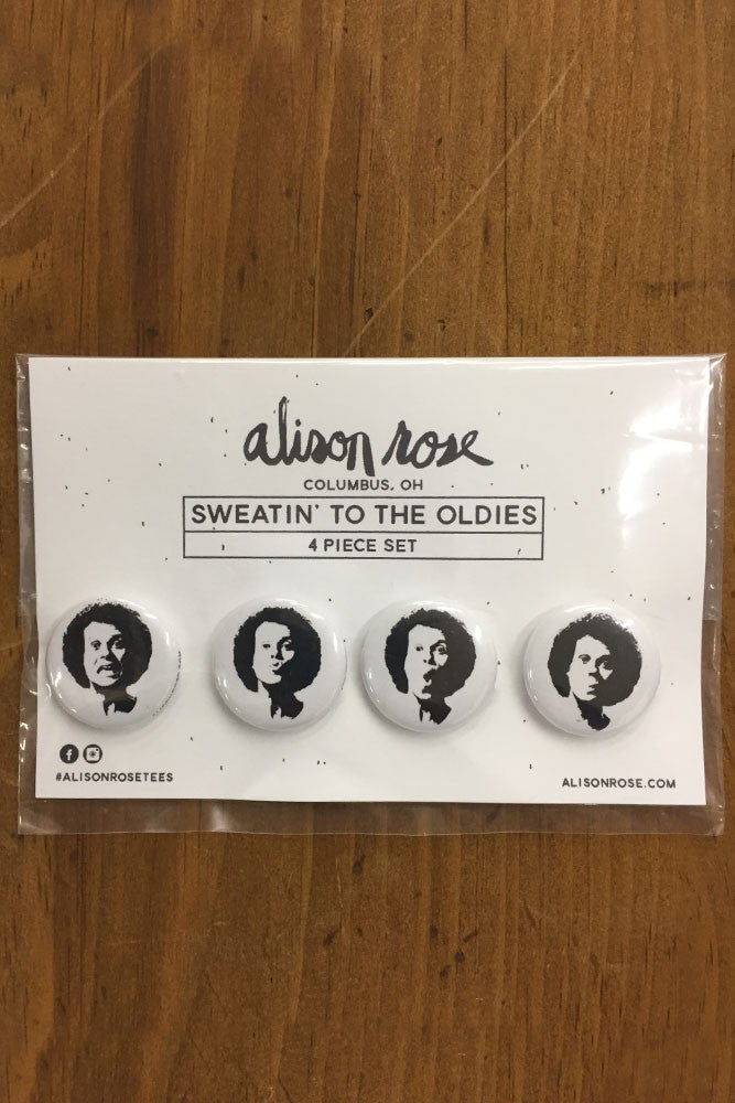 "Sweatin' to the Oldies 4 piece 1"" Button Set"
