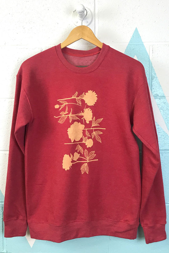 Red Flowers Crewneck Sweatshirt