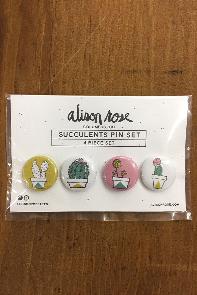"Succulents 4 piece 1"" Button Set"