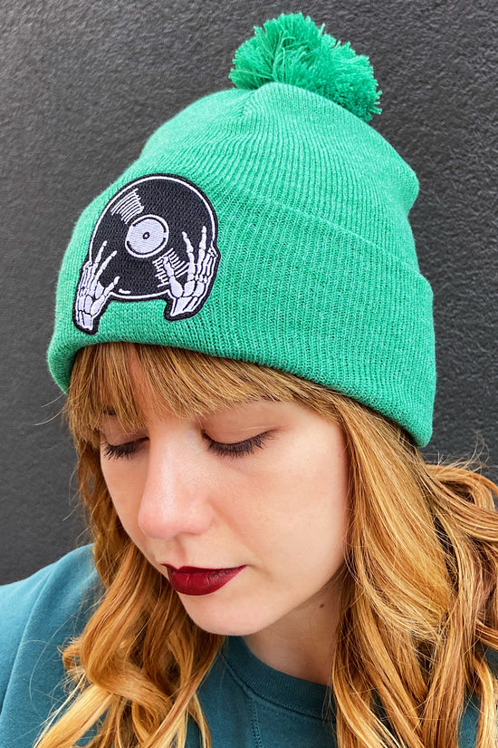 Vinyl is Not Dead Green Pom Pom Beanie
