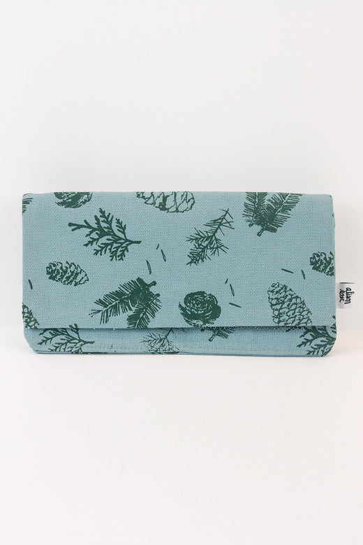 Blue Pine Zipper Fabric Wallet