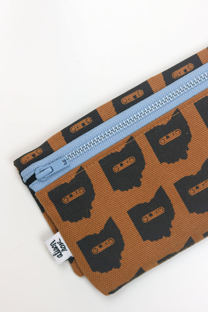 Brown Canvas Ohio Mixtape Zipper Fabric Wallet