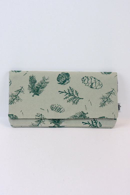 Grey Pine Zipper Fabric Wallet