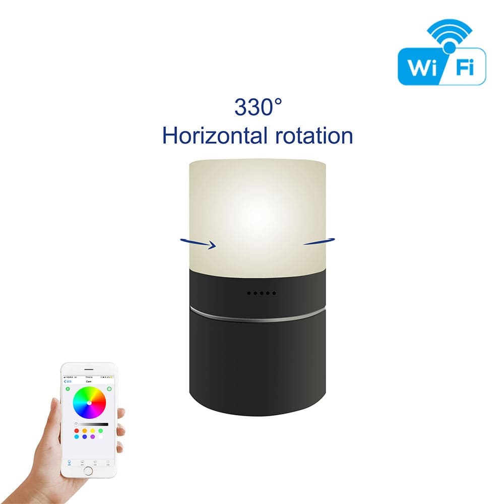 WiFi Motion Activated Motorized LED Lamp Hidden Spy Camera