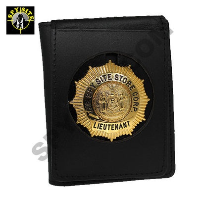 round cut badge wallet