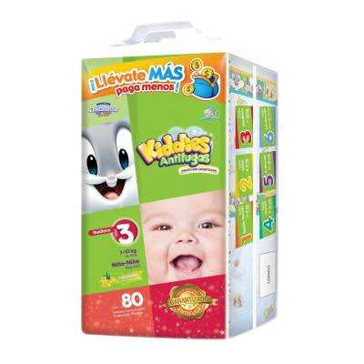 Kiddies Leakguards Disposable Diapers, Size 3, Medium, Unisex (80 ct)