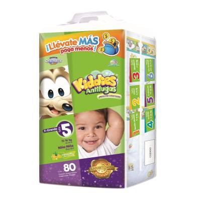 Kiddies Leakguards Disposable Diapers, Size 5, Extra Large, Unisex (80 ct)