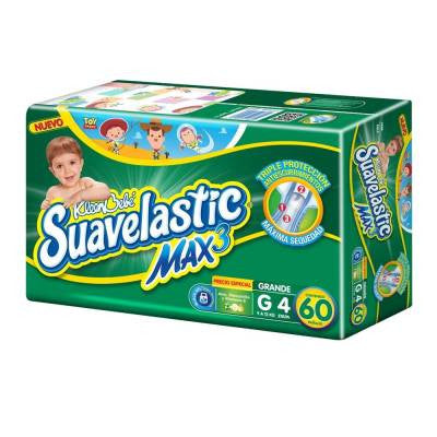 KleenBebe Suavelastic Max Diapers, Size 4, Large (60 ct)