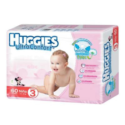 Huggies Ultraconfort Diapers, Size 3, Girl (60 ct)