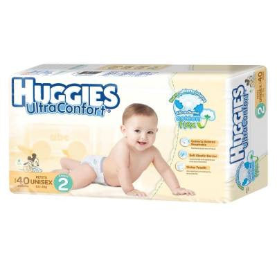 Huggies UltraConfort Diapers, Size 2, Petites, Unisex (40 ct)
