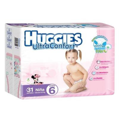 Huggies UltraConfort Diapers, Size 6, Girl (31 ct)