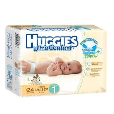 Huggies UltraConfort Diapers, Size 1, Petites, Unisex (24 ct)