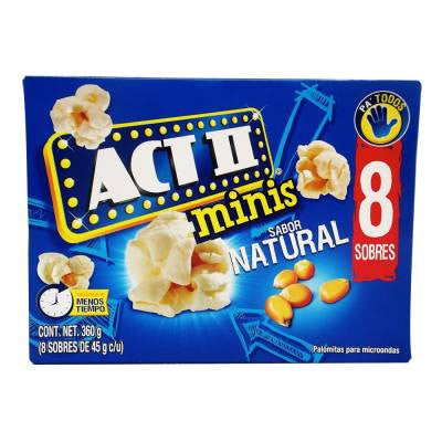 Act II Mini Bags Natural Microwave Popcorn (8 bags)
