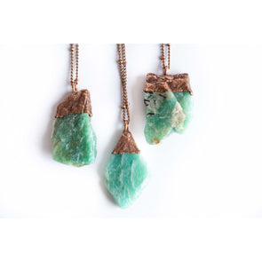 Amazonite jewelry | Raw Amazonite crystal necklace | Rough Amazonite crystal | Electroformed Necklace