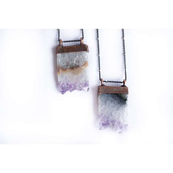 Amethyst crystal necklace | Raw amethyst pendant |  Electroformed raw amethyst necklace | Raw crystal jewelry | Birthstone Necklace