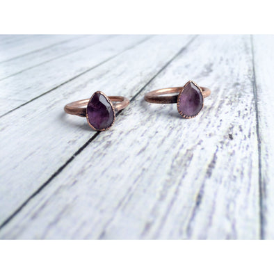 Amethyst ring | Amethyst crystal ring | Purple amethyst and copper ring | Raw crystal jewelry | Amethyst statement ring | Natural amethyst