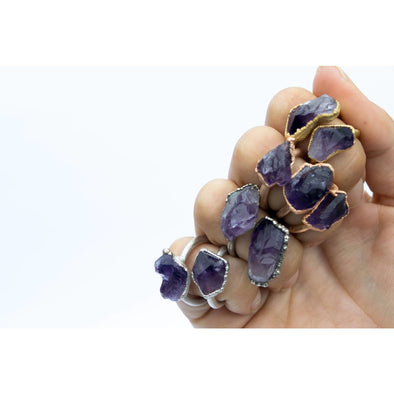 Amethyst statement ring | Amethyst birthstone jewelry | Stackable amethyst ring