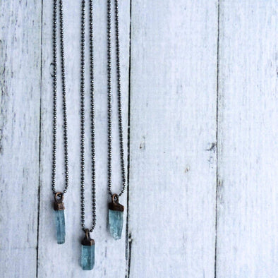 Aquamarine crystal necklace | Raw aquamarine sterling jewelry | March birthstone necklace NECKLACES