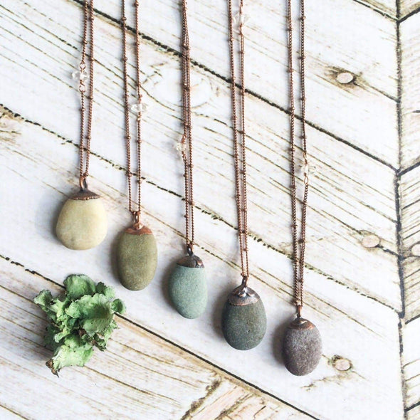 Beach pebble necklace | Raw stone necklace | Beach stone necklace NECKLACES
