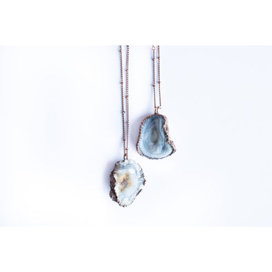 Chalcedony necklace | Chalcedony crystal necklace | Chalcedony Rose | Chalcedony Rose Druzy | Large druzy necklace