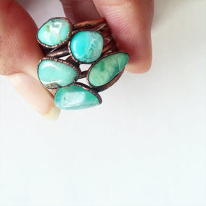 Chrysoprase ring | Tumbled chrysoprase crystal ring | Green chrysoprase and copper ring | May birthstone jewelry | May birthstone ring