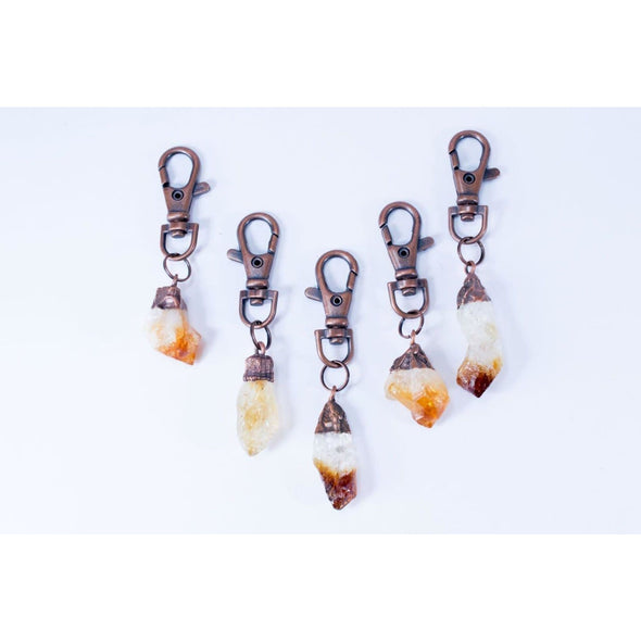 Citrine keychain | Rough crystal keychain | Raw Citrine crystal key clip KEYCHAINS