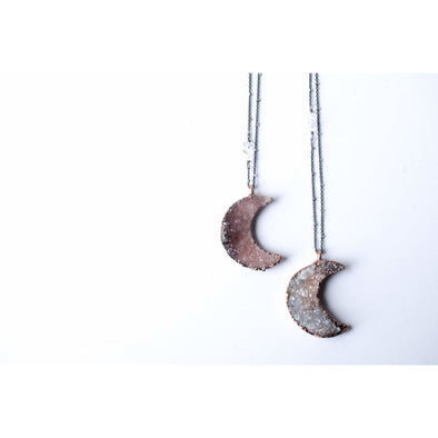 Druzy Moon Necklace | Crescent Moon Necklace | Druzy crystal necklace