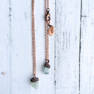 Delicate aquamarine crystal necklace | Dainty aquamarine gemstone jewelry | March birthstone necklace NECKLACES
