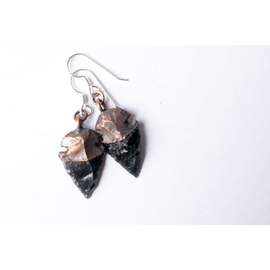 Dragonglass jewelry | Obsidian arrowhead earrings | Arrow head earrings | Dragonglass earrings | Dragonglass arrowhead dangle earrings