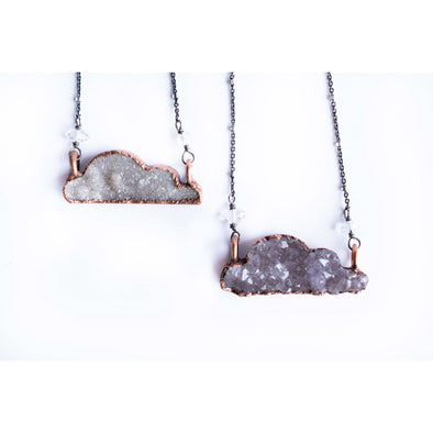 Druzy cloud necklace | Cloud necklace | Natural druzy necklace | Crystal cloud pendant | Electroformed druzy