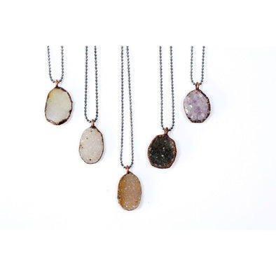Druzy crystal necklace | Natural druzy pendant |  Electroformed raw druzy necklace | Raw crystal jewelry | Undyed Druzy Necklace