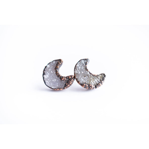 Druzy moon studs | Moon earrings | Quartz Studs