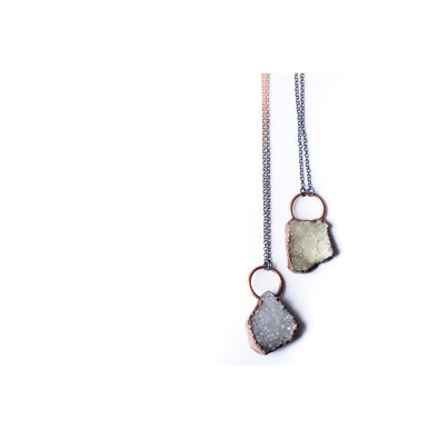Druzy necklace | Druzy crystal necklace | Electroformed raw druzy necklace | Raw crystal jewelry | Natural Druzy Necklace