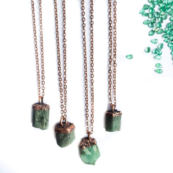 Emerald crystal necklace | Raw emerald necklace | Rough Emerald pendant NECKLACES