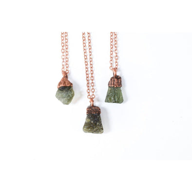 Moldavite crystal necklace | Raw moldavite jewelry | Moldavite pendant | Moldavite sterling necklace | Raw moldavite necklace