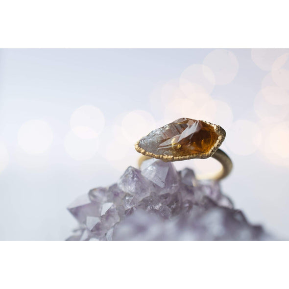Gold Citrine ring | Natural citrine ring | Raw citrine crystal jewelry MIXED METALS