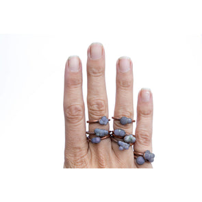 Grape Agate ring | Grape Agate Cluster ring | Copper and natural agate jewelry | Raw stone ring | Rough grape agate jewelry