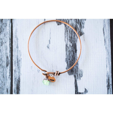 Green Peridot bracelet| Rough Peridot Bangle | Copper & peridot Bracelet
