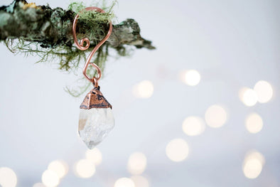 Raw crystal ornament | Quartz crystal ornament | Raw crystal Christmas ornament