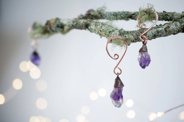 Raw crystal ornament | Amethyst crystal ornament | Raw crystal Christmas ornament